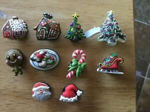 CHRISTMAS TREE GINGERBREAD HOUSE SNTA HAT AUTHENTIC JIBBITZ SHOE CHARM FIT CROCS