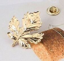 3D Maple Leaf Brooch Gold Tone Pin Not Cufflinks Leaves pins 925 UK SELLER GLD