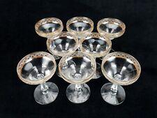Champagne Glasses, Set of 8 ~ Vintage Glassware, Gold Banded Rims, 6-Sided Stem