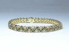 NYJEWEL New 14k Yellow Gold 5ctw Diamond & Emerald Bracelet