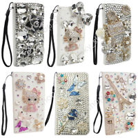 New Luxury Bling Diamond Crystal Leather Strap Card Wallet Flip Phone Case Cover