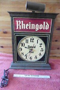 Rheingold Natural Beer Bar Sign Lighted Advertising clock Vintage wall decor