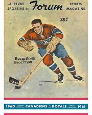 Canadiens Program 1960-61 Game Program Cover (Bernie Geoffrion) - 8x10 Photo