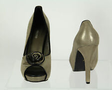 Womens Misano Pewter New Leather High Heel Platform Ladies Peep Toe Shoes Size 9