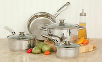 7 Piece Stainless Steel Cookware Set Non Stick Cooking Pots and Pans Kitchen New