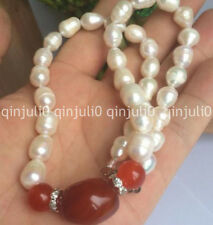 Gorgeous natural red agate cultured pearl necklace 18""