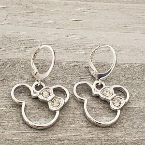 Darling silver white gold plated Minnie Mouse shape crystal bow dangle earrings