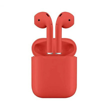 New Unbranded Wireless Bluetooth Red Headphones EarBuds with Charging Case