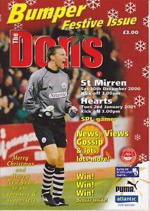 Aberdeen Home Programmes Season 2000-2001