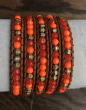 New Auth Chan Luu Indian Red Agate Mix Five Wrap Bracelet on Light Brown Leather