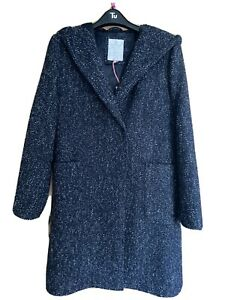 White Stuff Navy Wool Hooded Coat size 14