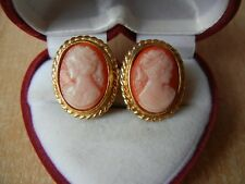 Portrait Gift Shell Cameo Clips Vintage Earrings Elegant Antique Retro