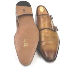 MAGNANNI Miro Double Monk Strap Burnished Cognac Restored Resoled Shoes Size 8M