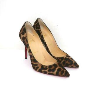 Christian Louboutin Kate Leopard Print Pony Hair Pumps Size 37 Pointed Toe Heels