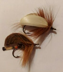 2 Vintage Hand Tied Fly Fishing Fly Lure Brown White Feather Hair