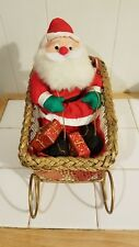 Stuffed Santa Clause In Metal Sleigh/Basket Christmas Decor