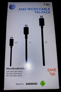 AT&T Micro Cable Tri Pack 9in - 4Ft - 6Ft for Android - Black
