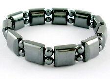 "Men's Women's Elastic Stretch Magnetic Hematite Bracelet Pain Relief 7 1/8"" B15"