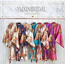 Silk Satin Floral Robe Bride Bridesmaid Robes Bridal Wedding Robe Women's Gown 5