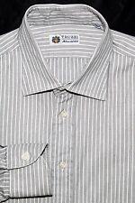TRUZZI Milano 1890 Men's Button Front Dress Shirt Gray Cotton Size 16 1/2