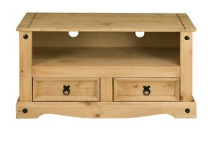 Corona 2 Drawer Flat Screen TV Unit - Mexican Solid Pine, Rustic, Distressed