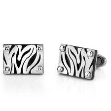 Stainless Steel Zebra Pattern Cufflinks for Men