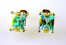 Mercury Mist Emerald Cut Stud Earrings Gold Over 925 Sterling Silver 8x6MM