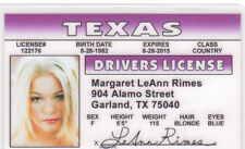 Leann Rimes novelty drivers license - a big fan of Patsy Cline Leanne Leeann