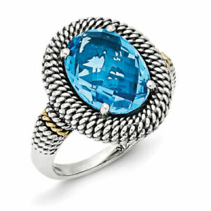 Shey Couture 6.6 Carat Swiss Blue Topaz Sterling Silver Ring 14K Size 7 - New