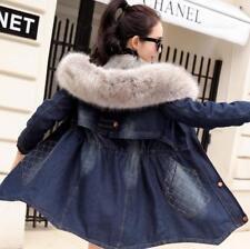 Winter Damen Freizeit Warm Neu Mantel Faux Pelz mit Kapuze Jeansjacke Jacke