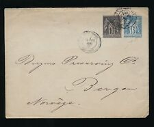 FRANCE 1883 STATIONERY to NORWAY 15c + 10c UPRATED