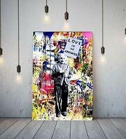 BANKSY EINSTEIN LOVE IS ANSWER - DEEP FRAMED CANVAS WALL ART GRAFFITI PRINT-