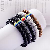 Charm Wood Lava Beads Rainbow Stone Men Women Bracelets Couple Distance Bracelet