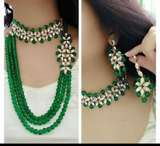 Indian Bollywood Style CZ AD Wedding Silver Fashion Green Jewelry Necklace Set