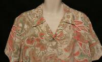 Alfred Dunner khaki brown pink khaki green paisley SS blouse womens 20W