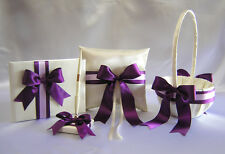 Ivory Eggplant Plum Flower Girl Basket Ring Bearer Pillow Guest Book Your Colors