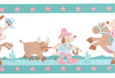 Cowboy Underdog Dog Cowgirl Vintage Wall Border Wallpaper Vinyl Decor Boys Girls