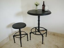 INDUSTRIAL RECLAIMED STYLE METAL PIPE ADJUSTABLE BLACK BAR TABLE (DX3362)