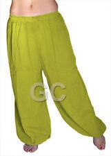 Yellow Green Cotton Harem Yoga Pant Belly Dance Trouser Aladdin Student Pantalon