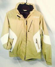 Spyder Ski Coat Jacket Dermizax Insulated Hood Snow Board Tan White Women's 10