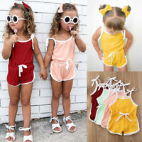 Summer Toddler Baby Kid Girls Sleeveless Strap Bow Romper Jumpsuit Clothes