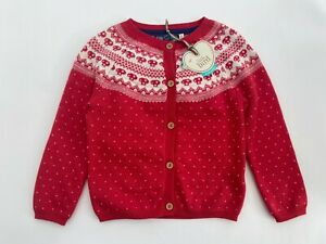 LITTLE BIRD Girls Cardigan Jools Oliver Designer Red Toadstool Fairisle Knitted