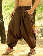 Men Brown Harem Pants Yoga Women Casual Trouser Genie Hippie Gypsy Baggy Pants