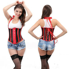 Sexy3 Black Boned Waist Training Overbust Lace Up Corset Bustier Top Shaper WX