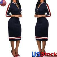 Women Bodycon Dress Casual Long Sleeve V Neck Zipper Slim Fit Midi Party Dresses