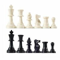 32 Plastic Chess Pieces Only Set All Black & White Chess Figures Without a Board