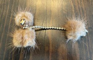 Vintage 50s Genuine Mink Fur Poodle Dog Sweater Clip Pin Brooch W/Rhinestones