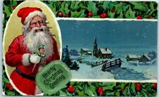 Vintage Christmas Postcard SANTA CLAUS Red Suit Punch Doll Winter Town Scene