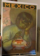 VTG ORIGINAL MEXICO TRAVEL POSTER CHILD PIGGY BANK TRAVEL A.X. PENA LITHO