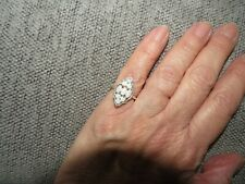 NATURAL AUSTRALIAN OPAL CLUSTER RING-SIZE K-1.00CTS-STERLING SILVER 925
